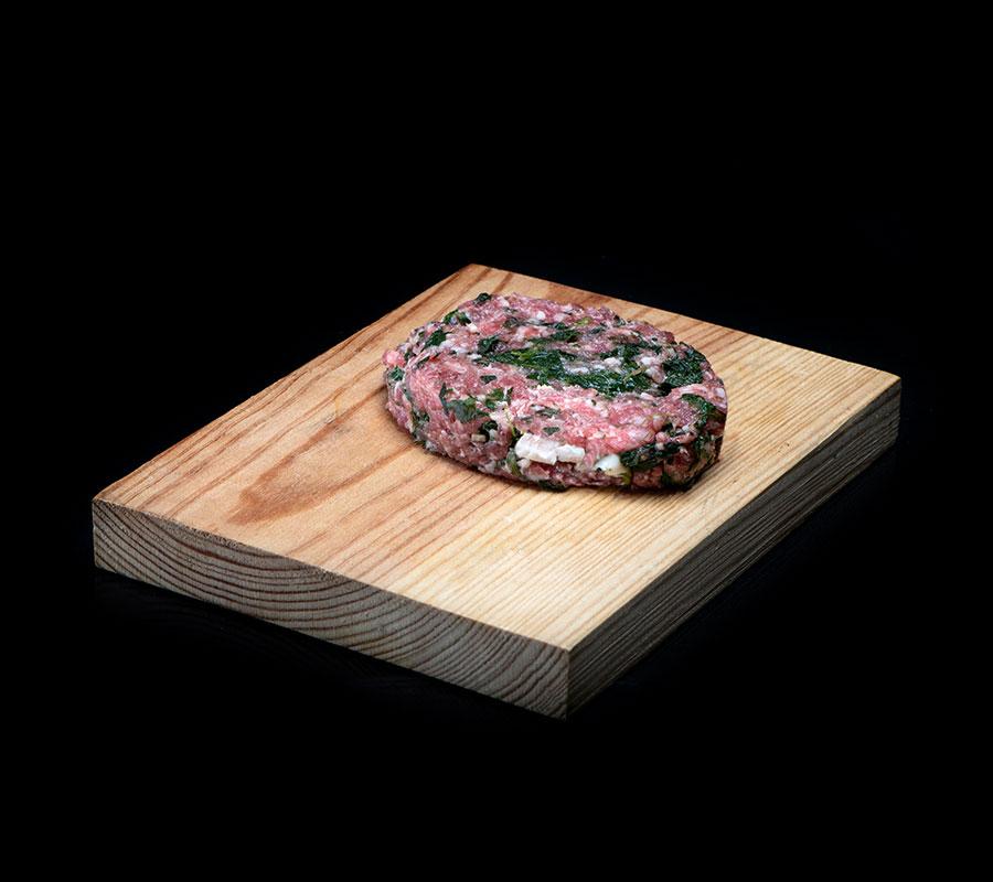 Hamburguesa de ternera con espinacas y queso de cabra